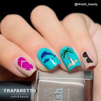 Трафарет для дизайна ногтей Trafaretto. Пляж