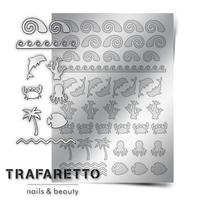 Металлизированные наклейки TRAFARETTO. Арт. Sea-05, Серебро